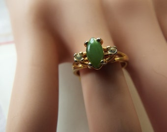 18k G.E. gold plated jade and spinel ring size 5.5
