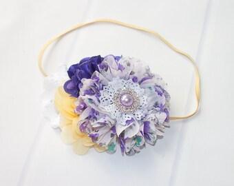 Grape Lemonade  - headband in purple, lavender, yellow and white (RTS)