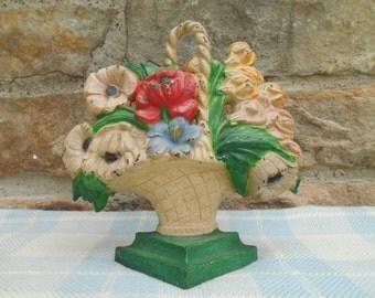 Vintage Cast Iron Doorstop Hubley Design 484 Flower Basket Bookend Shabby Cottage Decor Bright Chippy Paint