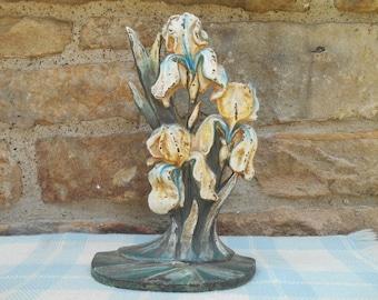 Antique Hubley Iris Doorstop Cast Iron Art Deco #489 Door Stop Chippy Paint Cluster of Irises Bookend