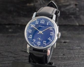 Mens watch, Vintage blue Pobeda watch, vintage mens watch, soviet watch, mechanical vintage russian watch, retro watch ussr cccp