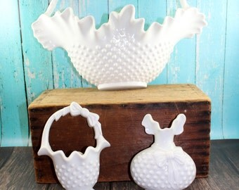 3pc. Set Burwood Faux Hobnail Milk Glass Wall Hanging, Plastic milk glass basket and vases, wall decor, 1980s, Shabby Chic, cottage, vintage