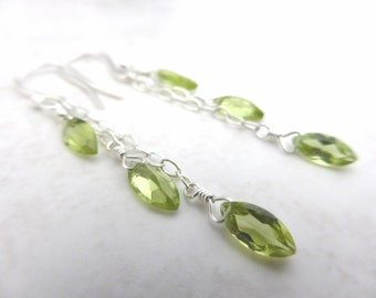 Peridot and silver chain drop earrings. Triple drop.