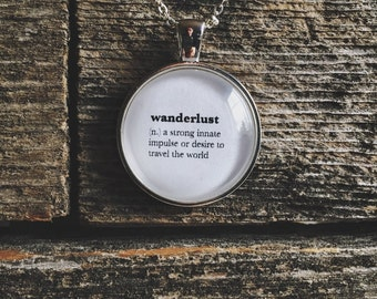 Travel Necklace - Wanderlust Jewelry - Word Necklace