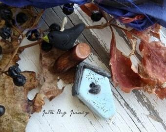 Sky Blue Birdhouse Totem- polymer clay beads. birdhouse bead. polymer black crow bead. sari silk. woodland rustic pendant. Jettabugjewelry