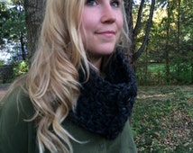 Crochet Chunky Cowl Scarf with Buttons  Hand Made in USA