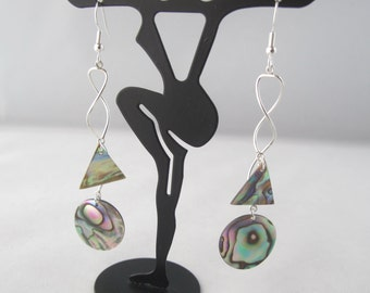 Abalone Drops on Sterling Silver Spirals Fish Hook Earrings