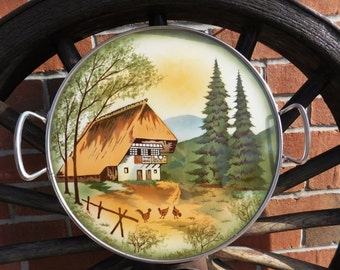 Vintage Echt Keramik German Chalet Mountain Scene Porcelain Tray - 1940's - from DustyMillerAntiques