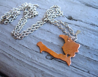 Haiti Necklace with heart on Port-au-Prince / Port-au-Prince Necklace / Hispanolia Necklace / Copper Haiti Necklace