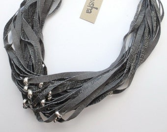 Leather Necklace Grey  with Silver Beads