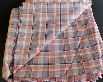Cotton Plaid Fabric - Heavy Weight Material - Red and Blue on White - 5 Yards