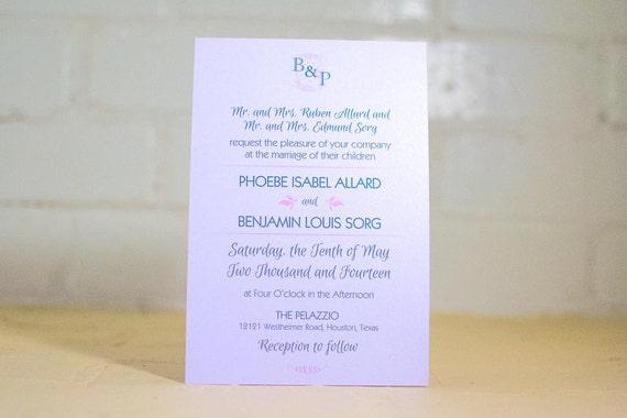 Fleurette Invitation Suite, Pink and Green Invitation Kit,  Traditional Wedding Invites