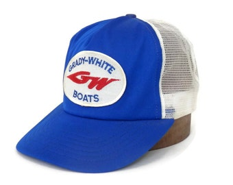 Vintage Grady White Boats Trucker Cap Royal Blue and White Mesh Snap Back Hat