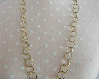 Vintage Gold Plated Solder Link Chain Necklace 29 Inches