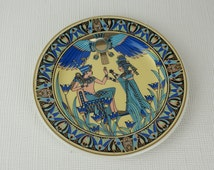 Small Egyptian Art Plate Pharaoh and Scarab Blue and Gold Pattern Ceramica F.M. & Co