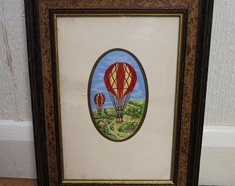 Cash's Delicately Woven Picture of a Hot Air Balloon 1990s Fabric Art in Frame