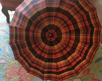 Vintage Plaid Umbrella, Lucite Handle, End, and Tips, Wooden Shaft, Bright Red Plaid, Beautiful Mid Century Piece for Display or Use!
