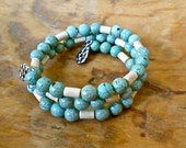 Turquoise Magnesite Bead Bracelet Memory Wire Wood Beads Tibetan Silver Charms  Valentine  Gift Trending colors