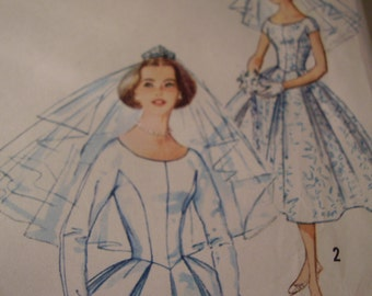 Vintage 1950's Simplicity 2223 Bridal ridesmaid Wedding Gown Sewing Pattern, Size 16, Bust 36