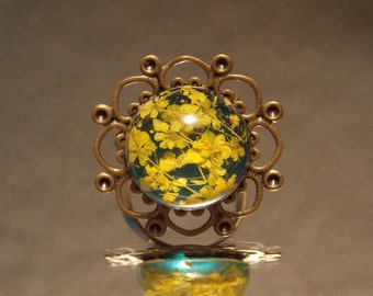 Blue and Yellow Dried Flower Ring