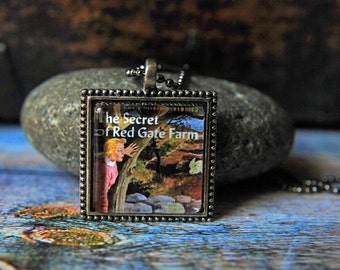 """1"""" Square  Glass Pendant Necklace or Key Chain - Nancy Drew Book Cover"""