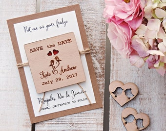 Wood Save The Date Magnet, Wooden Save The Date Magnet, Personalised Save The Date, Wedding Magnet, Wedding Save the Date Magnet Wood Magnet