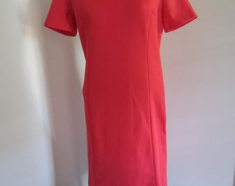 Vintage 60's Tomato Red Double Knit Shift Cap Sleeve Wiggle Dress M L
