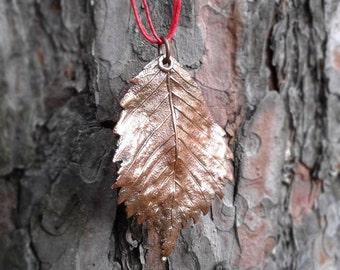 Elm leaf necklace - Leaf necklace - Copper leaf - Gifts under 30