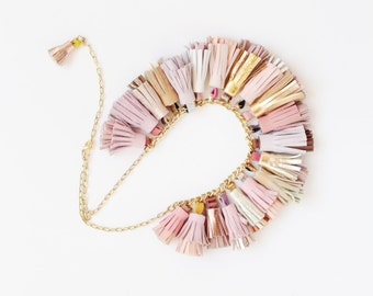 BOUQUET 60 / Mixed color natural leather tassel statement everyday necklace in pink shades - Ready to Ship