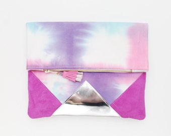 FESTIVE 17 / Hand colored cotton & Natural leather fold over clutch bag wih leather tassel - Ready to Ship