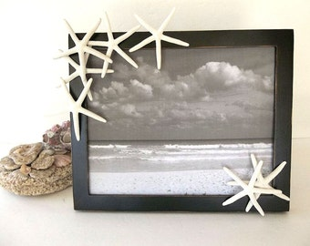 Starfish Picture Frame 8x10 Black & White distressed photo frame Beach Decor frame Nautical Ocean Decor tabletop / wall mounted wall hanging