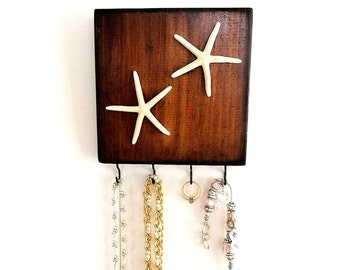Starfish Key Hooks, Rustic wall hook wood wall rack Beach House Coastal Decor Entryway Key Holder Jewelry Belt Hanger Organizer Towel hook