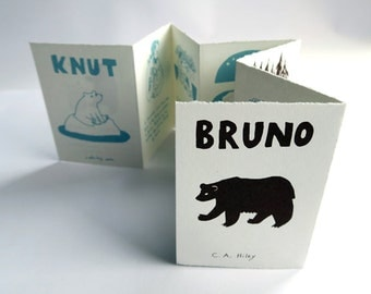 Knut/Bruno - In Memory of Two Bears. Artist's Book, screenprint, illustration, comic, concertina, polar bear, wild animals, science & nature