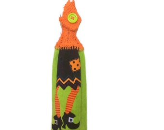 Halloween in July - Witch - Hot Green - Hanging kitchen towel - crocheted top