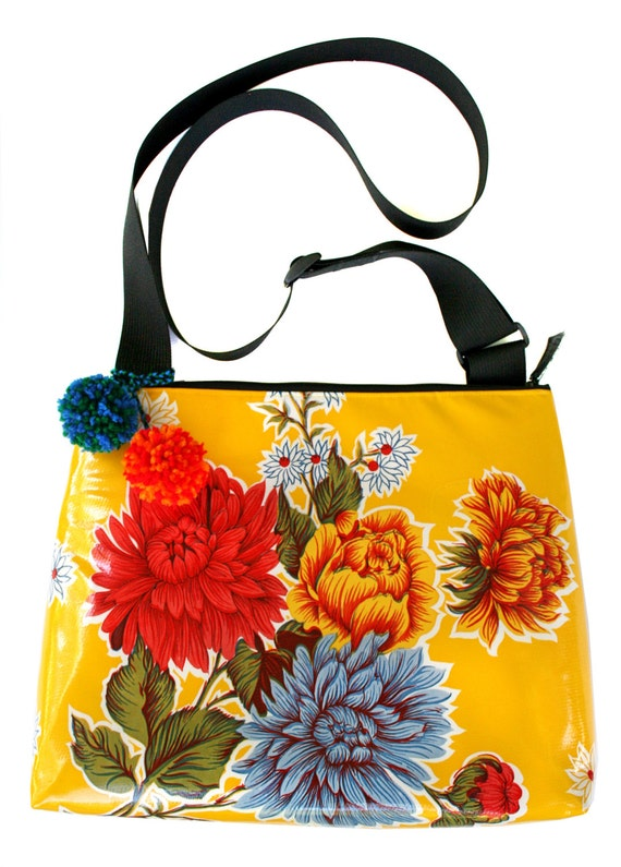 SALE! Yellow floral, oil cloth, pom poms, large, cross body bag
