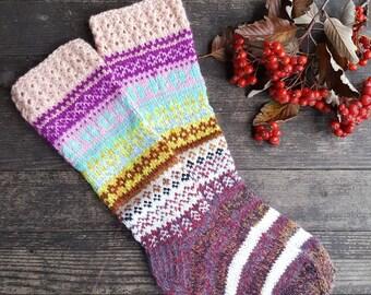 Hand Knit Colorful Socks-Womens Soks-Long Socks-Size Medium-US W7 /EU38