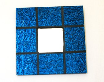 Blue Wall Mirror, Stained Glass Mosaic Mirror, Cool Wall Art, Room Accessories, Blue Home Decor, Decorative Mirror, Housewarming Gift