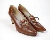 Vintage Brown Leather Brogue Heels