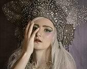 Silver Screen Kokoshnik Art Nouveau fan halo fascinator unique crown Derby headdress, hat headpiece fashion accessory