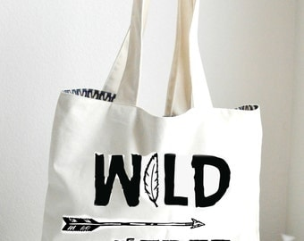 Wild and Free Tote Bag Large, Sturdy, Heavyweight Canvas Grocery Bag / Bride Bag / Tote / Beach / Funny / Canvas