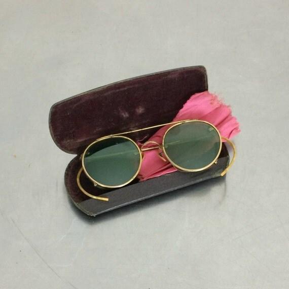 Eye Glasses with Shades Vintage Wire Rim Eyeglasses