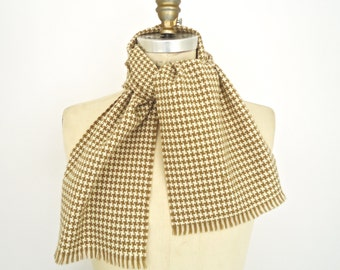 Vintage Camel & Ivory Houndstooth Scarf / khaki tan cream white hounds tooth check pattern muffler