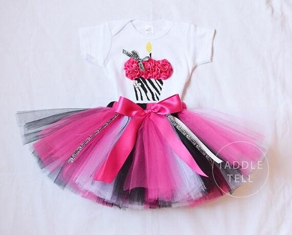WILD ZEBRA Birthday Girl Set - 3D Cupcake Onesie and Tutu Skirt - 1st 2nd 3rd 4th 5th Birthday