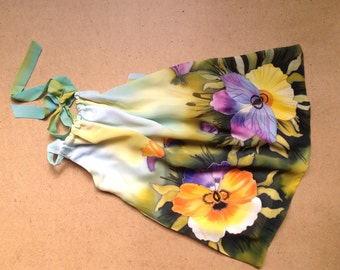 Pansy flowers silk blouse . Hand painted silk blouse.  Ready to ship.