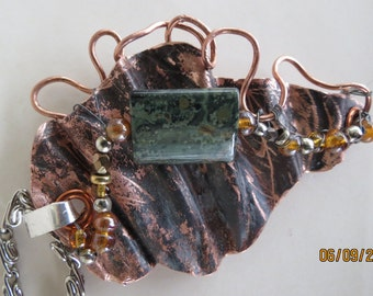 Copper and Jade Pendant