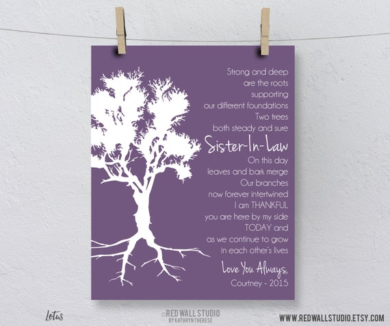 Sister In Law Poems: Wedding Gift For Sister In Law Bridesmaid By RedWallStudio