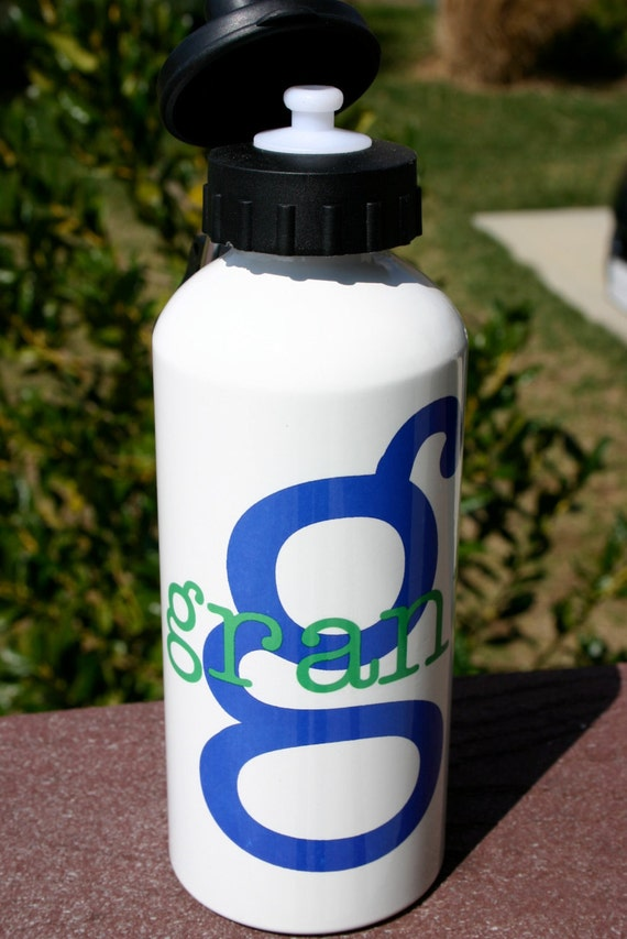 Water Bottle Personalized Custom Name Initial or Birthday Number Aluminum Water Bottle