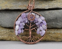 Tree-Of-Life Pendant Copper Wire Wrapped Pendant Wired Copper Jewelry Modern Amethyst Pendant Amethyst Necklace Talisman February Birthstone