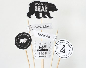 Mama Bear Cupcake Toppers - Adventure Baby Shower Cake Topper - Camping Baby Shower Cake Topper - Instant Download