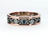 Black and white diamond filigree ring, wide band, rose gold, white gold, two tone, black wedding band, filigree engagement ring, gothic